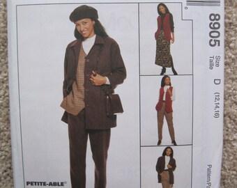 UNCUT Misses Jacket, Vest, Pants and Skirt - Butterick Pattern 8905