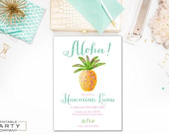 Aloha Pineapple Hawaiian Luau Birthday Invite, 30th, 40th, Housewarming, Preppy Unisex Invitation, DIY Printable, Customizable, Digital