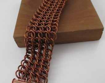 Wide Chainmaille Copper Half Persian Sheet Bracelet Cuff, Chain Bracelet, Chainmail Jewelry