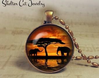 "Elephants at Sunset Necklace - 1-1/4"" Circle Pendant or Key Ring - Handmade Wearable Photo Art Jewelry - Nature Art - Elephant - Gift"