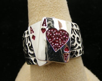 Men's Poker Ring with rubies