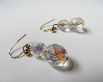 Vintage bridal earrings, aurora borealis crystal, glass, drop