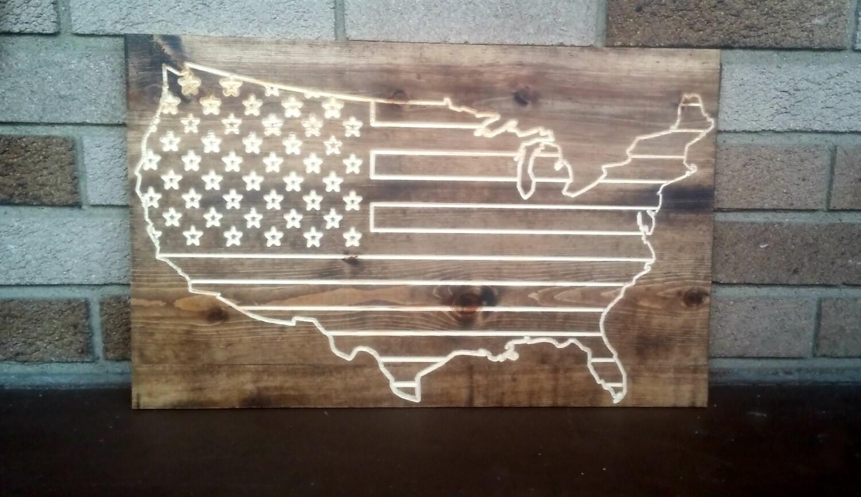 Usa flag reclaimed wood art wall decor memorial day American flag wood wall art
