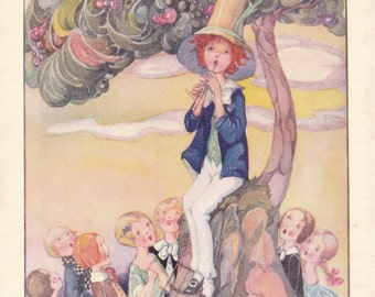 Fabulous 1930s children's story book picture The Dream Piper for framing Anne Anderson