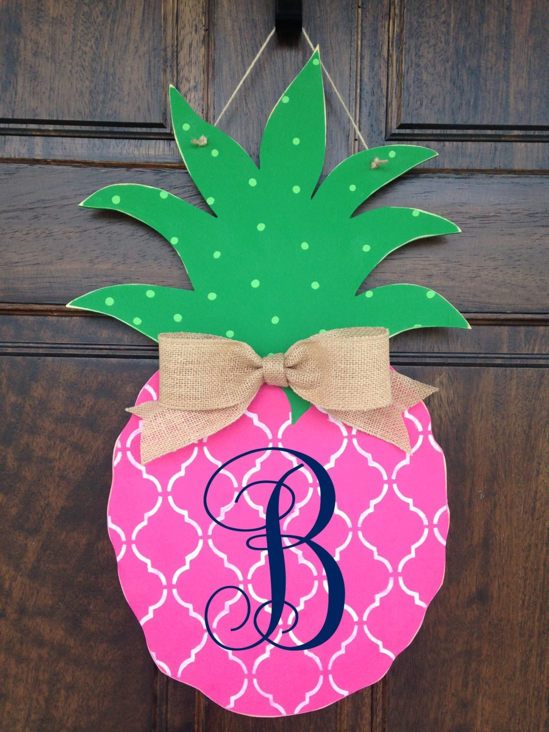 Pink Pineapple Hand Painted Wooden Door Hanger By