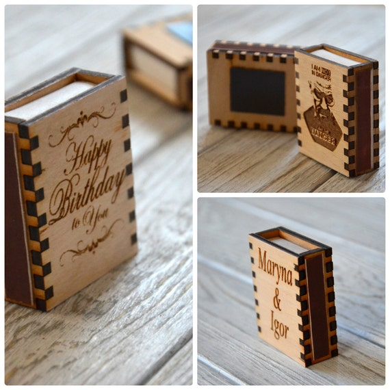 Personalized Wooden Box Of Matches Custom Kitchen Housewarming