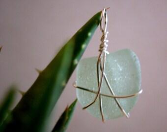 Sea Foam Green Sea Glass Wire Wrapped Pendant