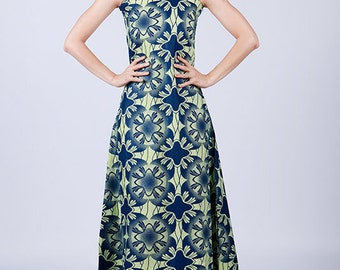 Maxi dress, Blue Maxi Dress, Blue and White Maxi Dress, Long Dress, Long Blue Dress, Long Blue and White Dress, Formal Dress, Handmade Dress