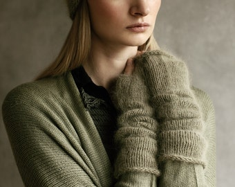 Angora Wool Armwarmers Mittens Long Fingerless Wristwarmers Hand-Made Knitted Khaki Olive Mohair