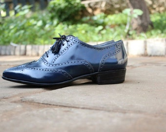 Blue Leather Shoes, Full brogue Oxford Derby Shoes, Women's Shoes