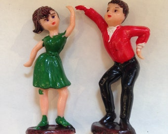 Vintage Dancing Pair Figurines LOT Red and Green