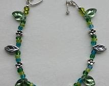 25% off! shades of green beaded bracelet, flowers and leaves bracelet, springtime bracelet, made in USA,