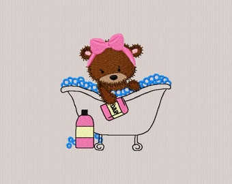 embroidery bear bath for machine embroidery 4 x 4 format