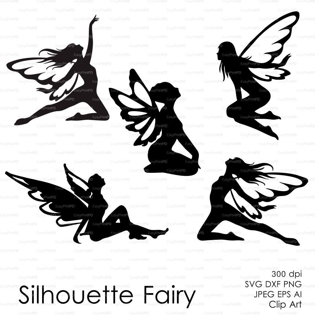 Car body sticker design eps - Fairy Butterflies Silhouette Eps Svg Dxf Ai Png Vector Clipart