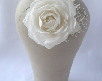 Ivory Pure Silk Rose & Babies Breath Bridal Hair Clip Corsage