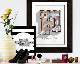 Sex and the City Apartment Floor Plan - TV Show Floor Plan - Modern Art Poster for Residence of Carrie Bradshaw - Gift Idea for SATC Fan
