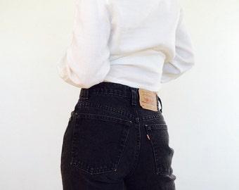 Vintage black denim levi 512 vintage black jeans vintage levi jean 512 extra long levi jeans black denim black levi pant highwaisted levi 28