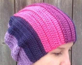 Crochet beanie, twilight sparkle inspired beanie, my little pony hat, knit like beanie, slouchy beanie, crochet tuque for adults, brony hat