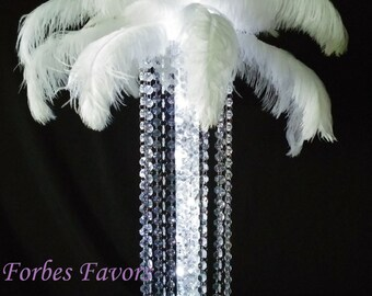 Timeless Lighted Ostrich Feather & Crystal Dangle Event and Wedding Centerpiece