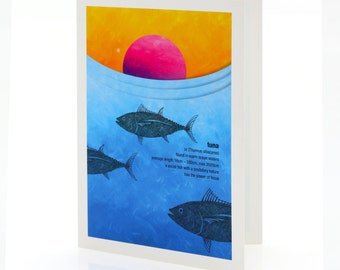 Tuna illustration. A6 greeting card with envelope – New Zealand native fish series.