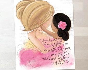 Blonde Mother and Daughter Dark Complexion - Nursery, Children's Room, Wall Art Print Gift