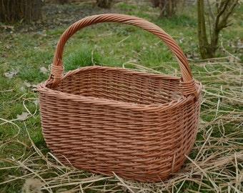 Big Picnic Basket, Large Wicker Basket, Rectangular Wicker Basket, Sturdy Wicker Basket, Wicker Shopping Basket,Large Willow Basket