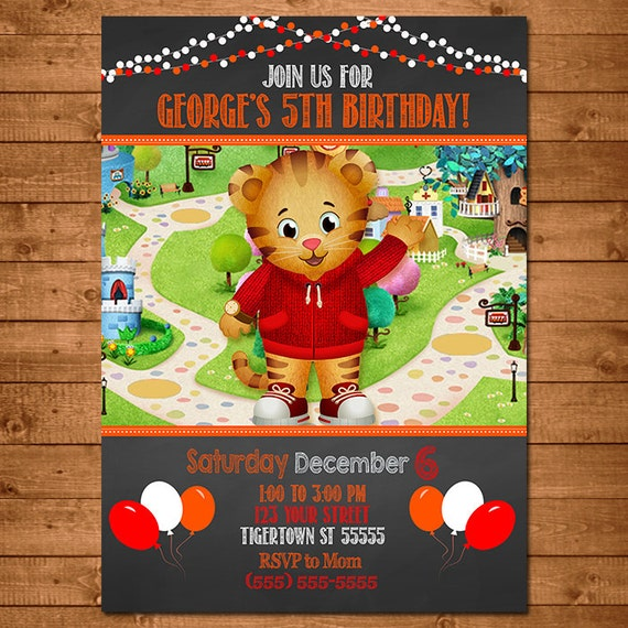 Daniel Tiger Invitation Chalkboard Theme -- Daniel Tiger Invite -- Daniel Tiger Birthday