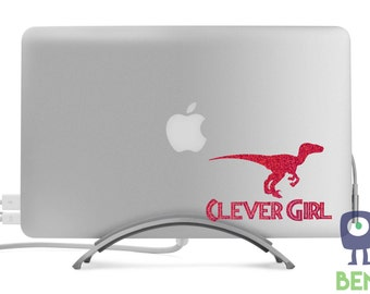 Clever Girl Raptor Dinosaur Sparkle Decal Classic Cool Artistic for MacBook, Laptop, Car, or Anything - Many Glitter Colors Available