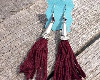 Maroon tassel earrings