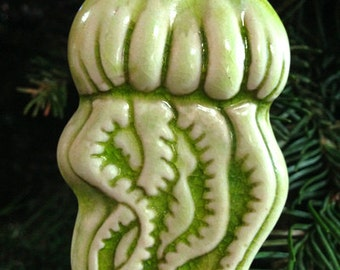 Jellyfish porcelain ornament - Lime