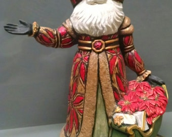 SALE!!!Poinsettia Santa -- Heirloom-quality handpainted ceramic Santa -- Christmas mantel decor