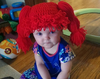 Crochet Hair, Yarn Wig, Baby Wig, Beanie, Doll hair, ginger wig, Toddler Hat, Baby Gift, photo prop, costume, red, wig hat, Halloween, hair