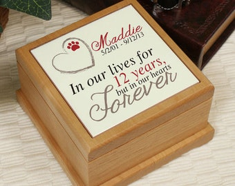 Memorial Wooden Pet Urn, Personalized Pet Urn, Personalized In Our Hearts Forever Pet Urn