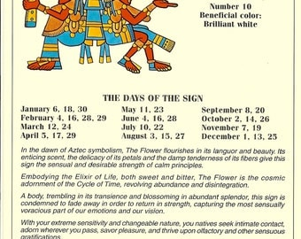 Vintage Aztec Astrology postcard: The Flower; from Zodiac Unlimited