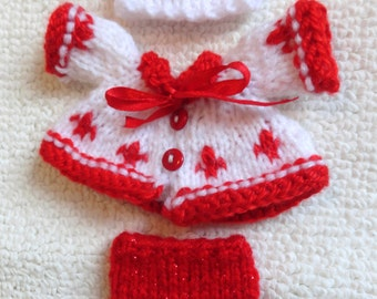 "Hand Knitted Dolls Clothes for 6,5-7""  OOAK  Doll (# 128)"