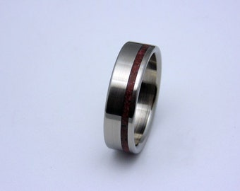 Titanium wedding band with Crazy Lace Agate inlay, Perfect Gift for her