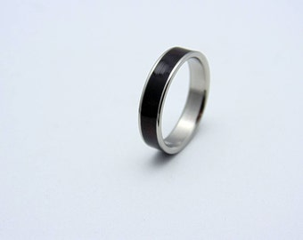 Wedding band, Titanium and wood wedding band, Titanium and Ebony wood ring  waterproof sealed, Bentwood band, Gift for him, Gift for her