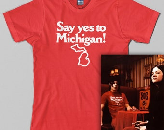 Yes To Michigan T Shirt  - say yes, detroit, jack, stripes, great lakes state, white, rock - Graphic Tee, All Sizes & Colors