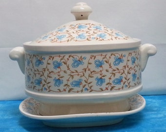 Vintage Blue & Brown Flowered Soup Tureen with Stand / Platter (#2075)