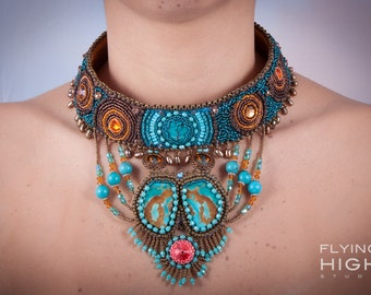 TURQUOISE & SWAROVSKI COLLAR with Turquoise Mountain/Japanese seed beads/ pearl all handstitched