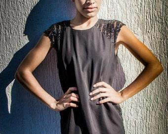 Black Sequin Raglan Sleeve dress