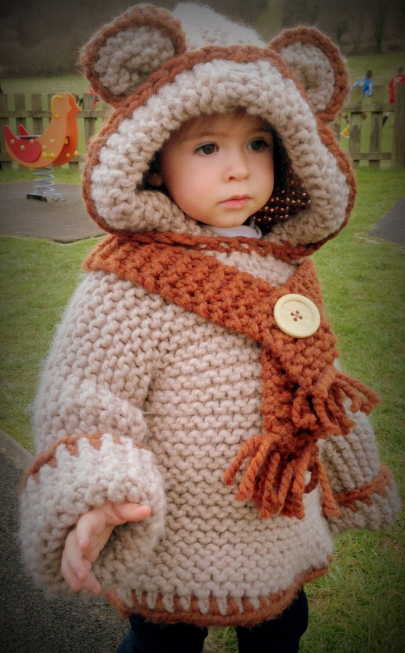 Knitting Pattern Bear Hoodie : Knitting Pattern Teddy Bear Hoodie with by DollyMayDesigns