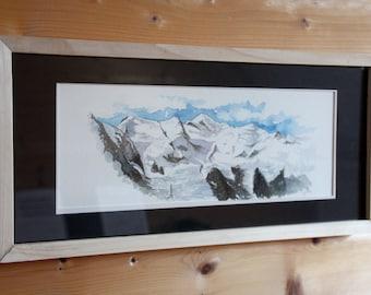 Aquarelle originale - cadre Mont Blanc