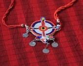 Charm necklace Maasai Masai jewellery jewelry authentic handmade fair trade charity African tribal Kenya big bright gift