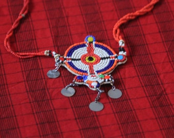 Charm necklace Maasai Masai jewellery jewelry authentic handmade fair trade charity African tribal Kenya big bright gift