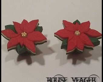 "Christmas Poinsettia Plugs - 2ga (6mm) - 5/8"" (16mm)"