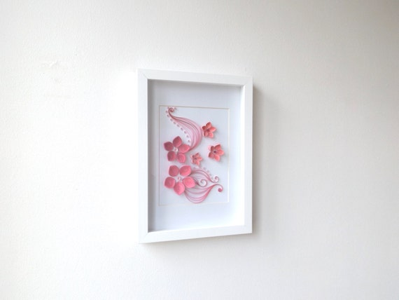 Paper quilling art frame hanging wall art quilled art frame for Quilling home decor