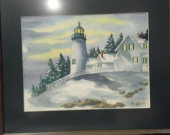 Winter Lighthouse on a stormy day original water color painting, inspires thoughts of crashing waves, hot coffee and roaring fires.