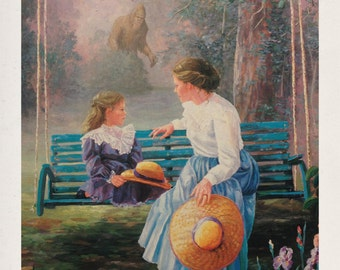 """11"""" by 14"""" """"Mother, Daughter...and Sasquach"""" Altered Thrift Store Art Print"""