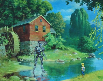 """4"""" by 6"""" postcard print, """"Cylon"""" Altered Thrift Store Art"""